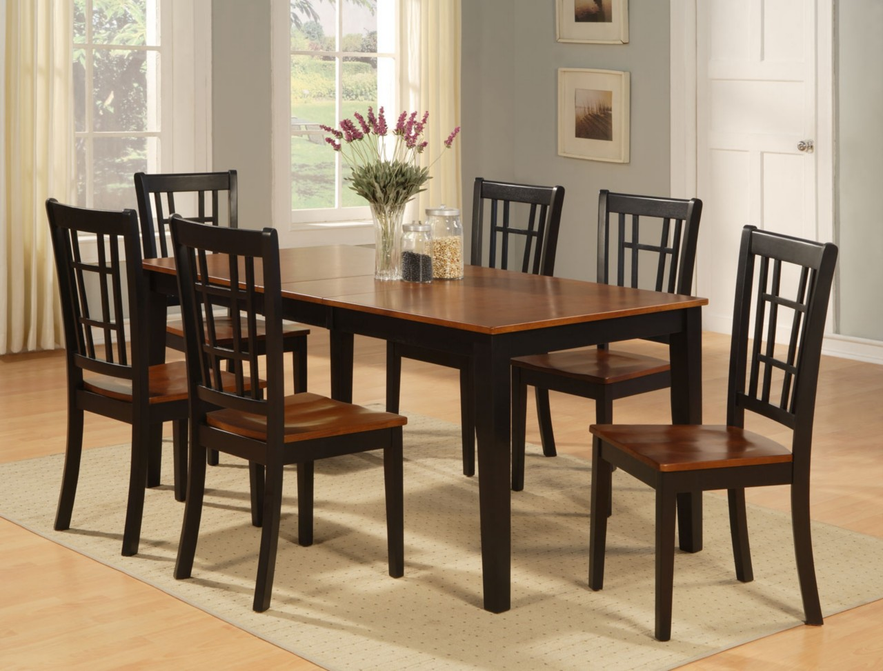 Dinette kitchen dining room set 7pc table and 6 chairs ebay for Kitchen table sets with bench and chairs