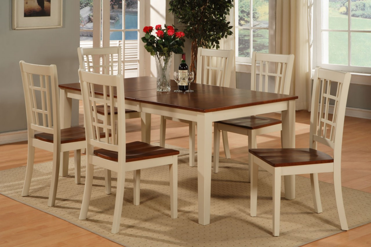 Rectangular dinette kitchen dining set table 6 chairs ebay for Kitchen set table and chairs