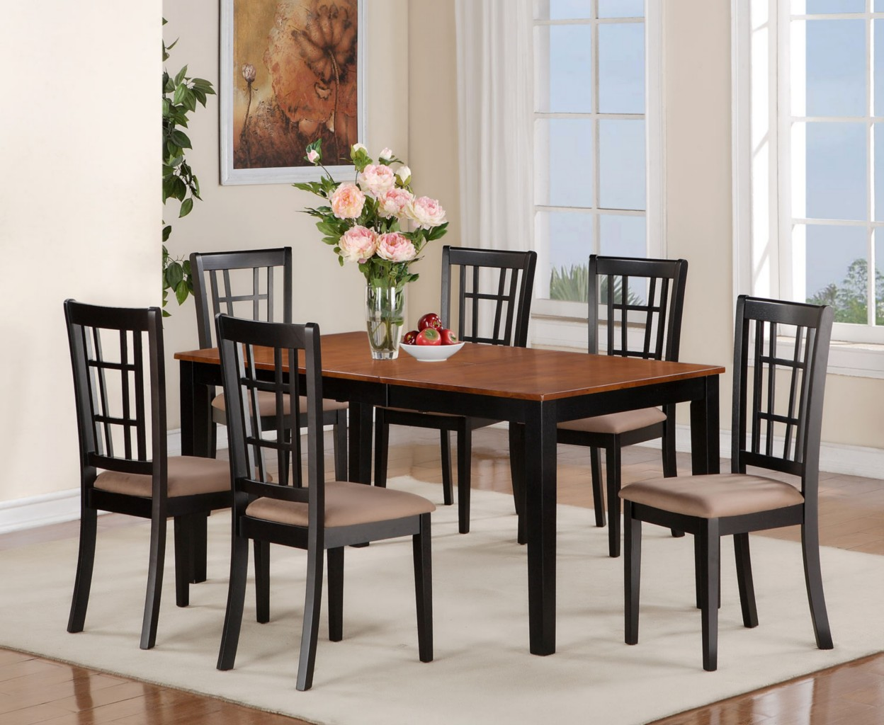 5pc dinette kitchen dining set rectangular table 4 chairs in black cherry ebay. Black Bedroom Furniture Sets. Home Design Ideas
