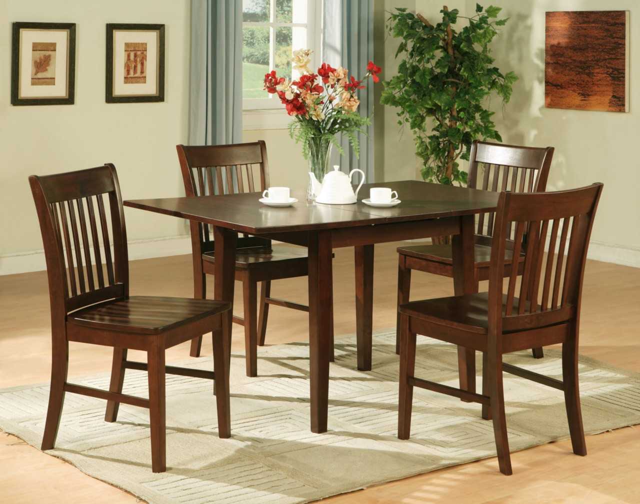 5pc rectangular kitchen dinette table 4 chairs mahogany ebay for Kitchen table sets with bench and chairs