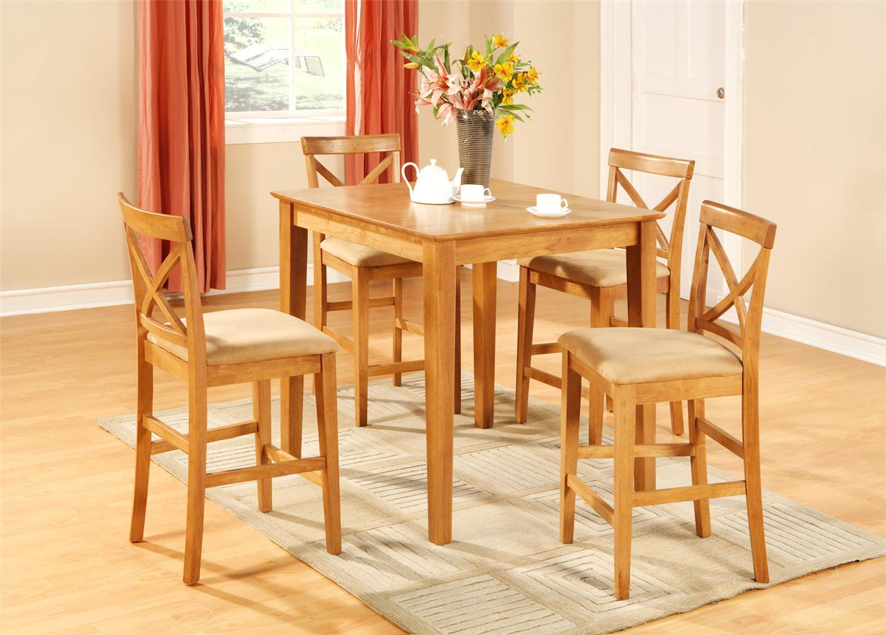 5pc square pub counter height table set 4 stools oak ebay for Kitchen table with stools