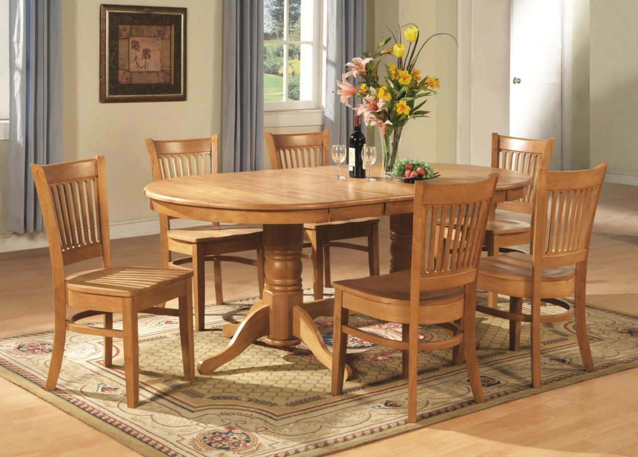 9 pc vancouver oval dinette kitchen dining room set table with 8 chairs in oak ebay - Wooden dining room chairs ...
