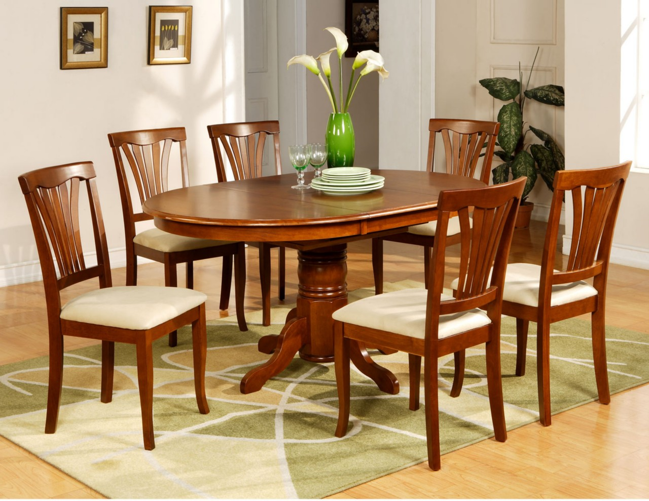 7 pc avon oval dinette kitchen dining room table with 6 for Dining table set designs