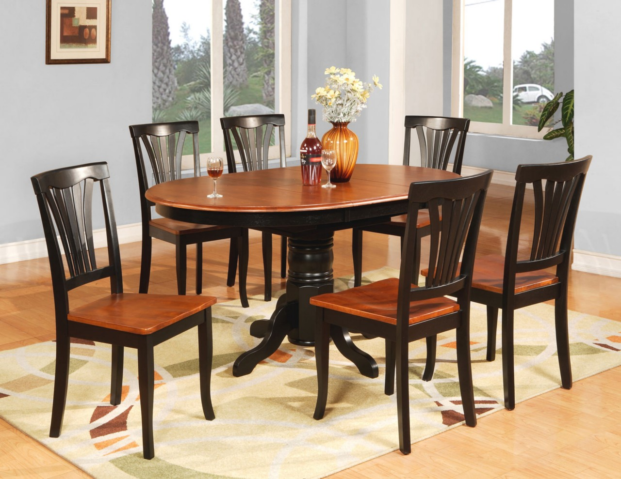 7 pc oval dinette kitchen dining room table 6 chairs ebay for Dining set with bench and chairs