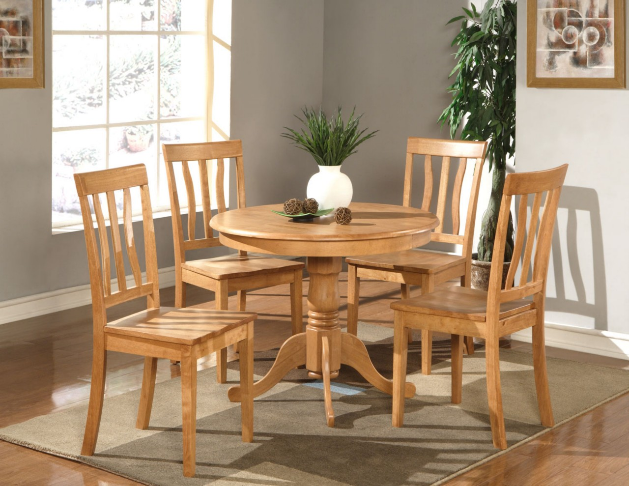 5 PC DINETTE KITCHEN ROUND TABLE with 4 WOOD SEAT CHAIRS IN OAK FINISH 36quo