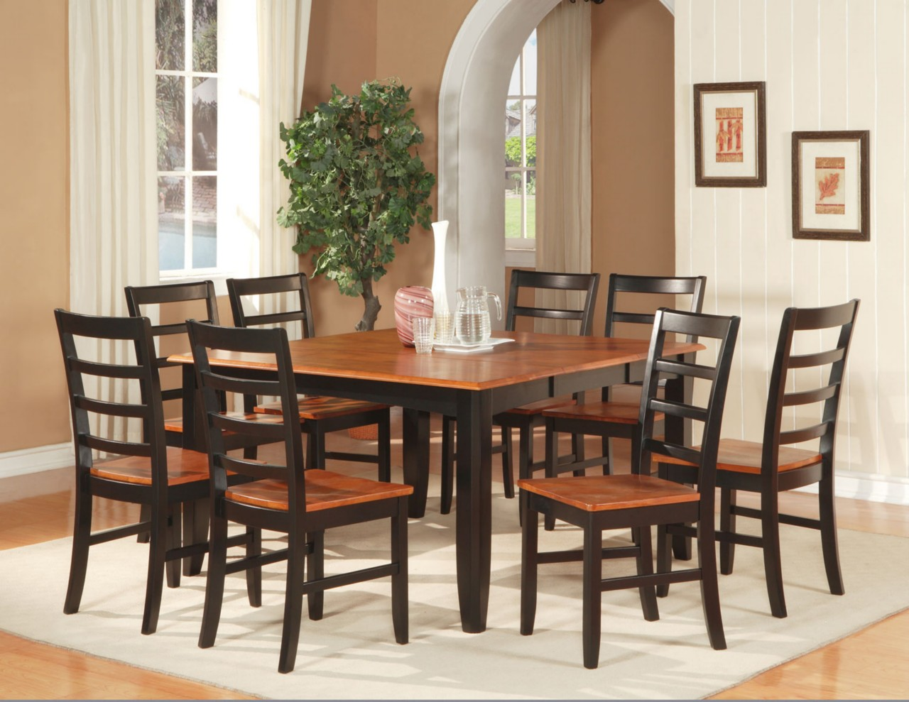 dinette dining room set table with 6 wood seat chairs black cherry