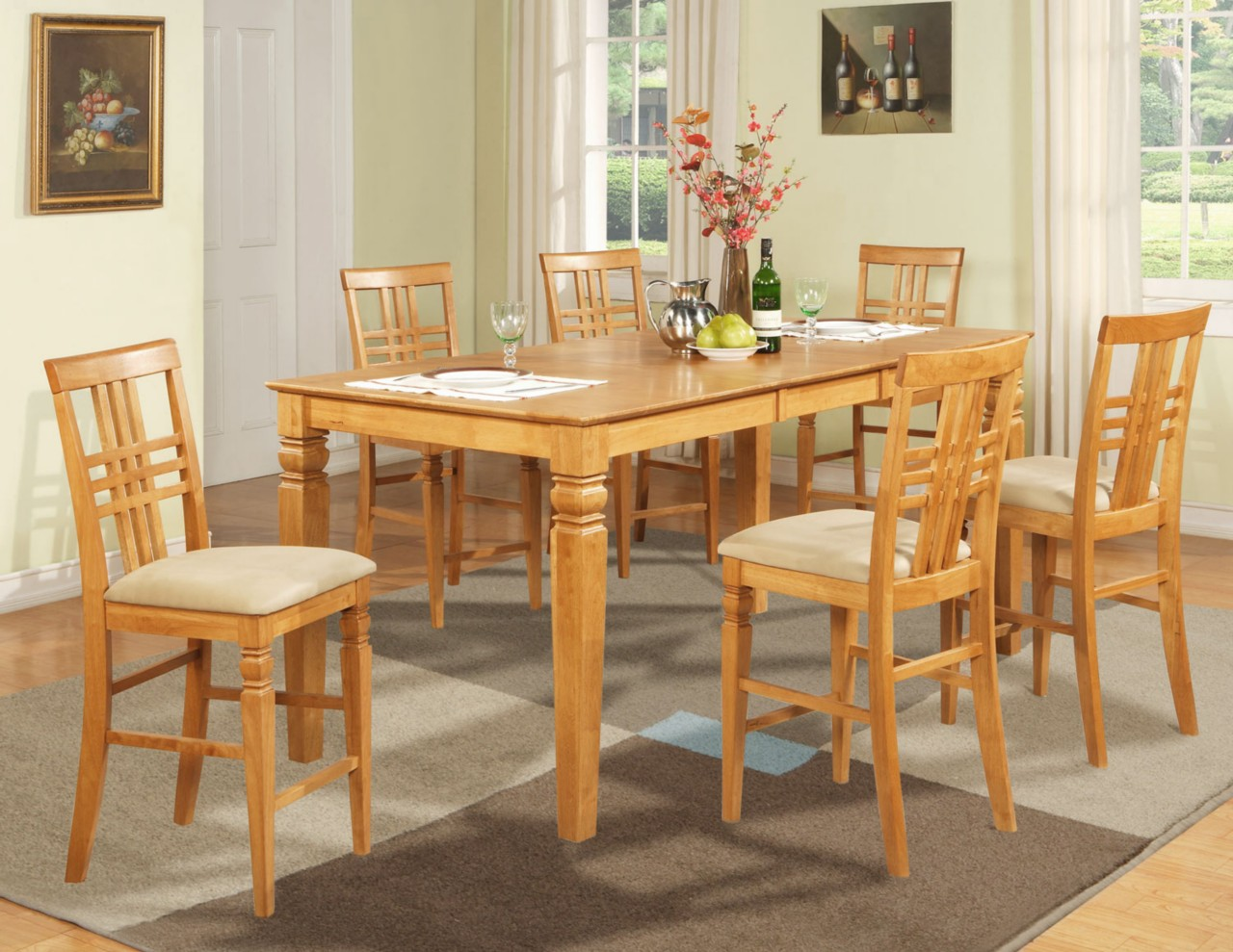 5PC COUNTER HEIGHT DINING ROOM TABLE SET 4 BAR STOOLS EBay