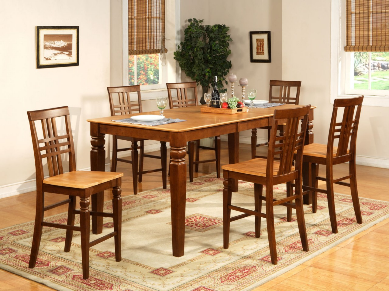 9pc dinette kitchen counter height table with 8 chairs in espresso