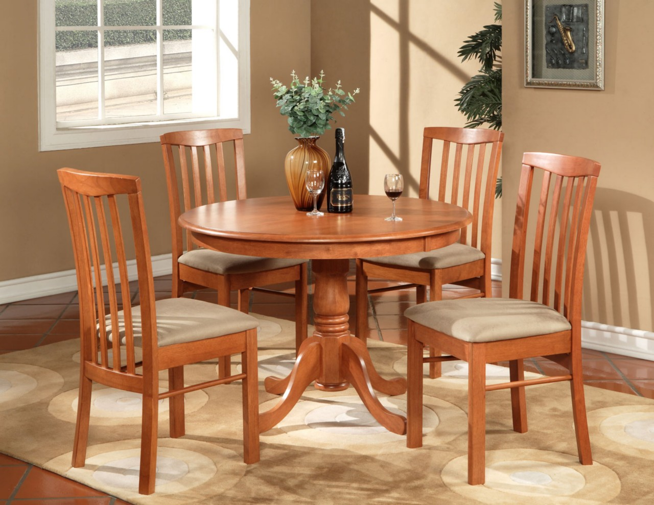 5pc hartland round dinette kitchen table set with 4 for Kitchen dinette sets