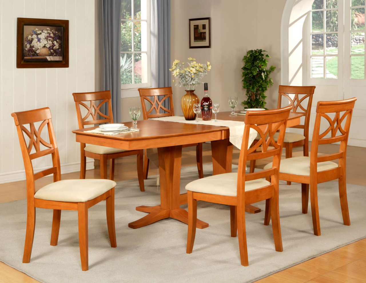 7pc dining room set table and 6 wood seat chairs in light for Dinette set with bench