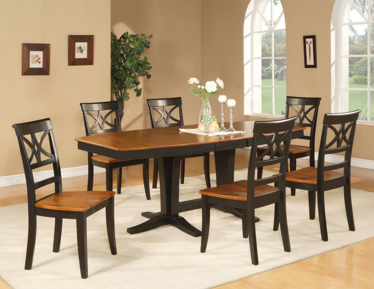 9pc dinette dining room set octagonal table w 8 wooden seat chairs cherry brown ebay. Black Bedroom Furniture Sets. Home Design Ideas