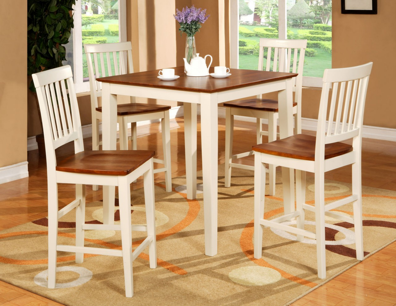 Pub set 5pc square counter height table 4 wood seat for Kitchen table and stools set