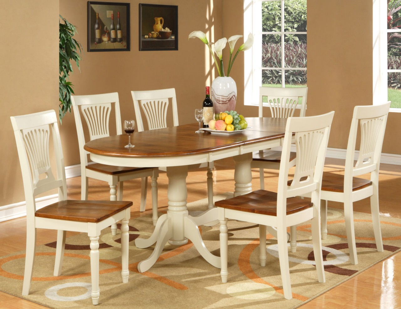 7pc oval dining room set table 6 chairs extension leaf ebay for Dining room table sets