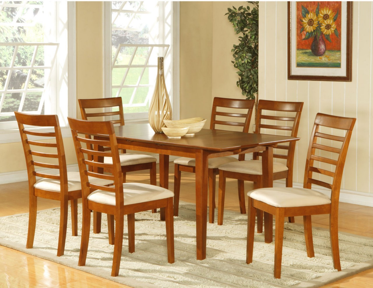 7pc dining room dinette set table and 6 chairs brown ebay for Dining set with bench and chairs