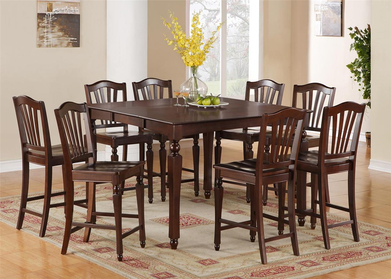 Details About 5PC SQUARE COUNTER HEIGHT DINING ROOM TABLE SET 4 STOOL