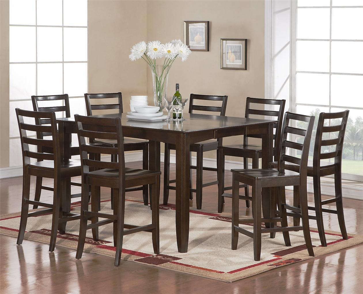 9 pc square counter height dining room table with 8 wood for Square dining room table