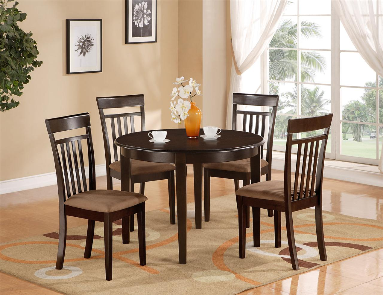 5 PC Round Kitchen Dinette Table 4 Chairs Cappuccino | eBay