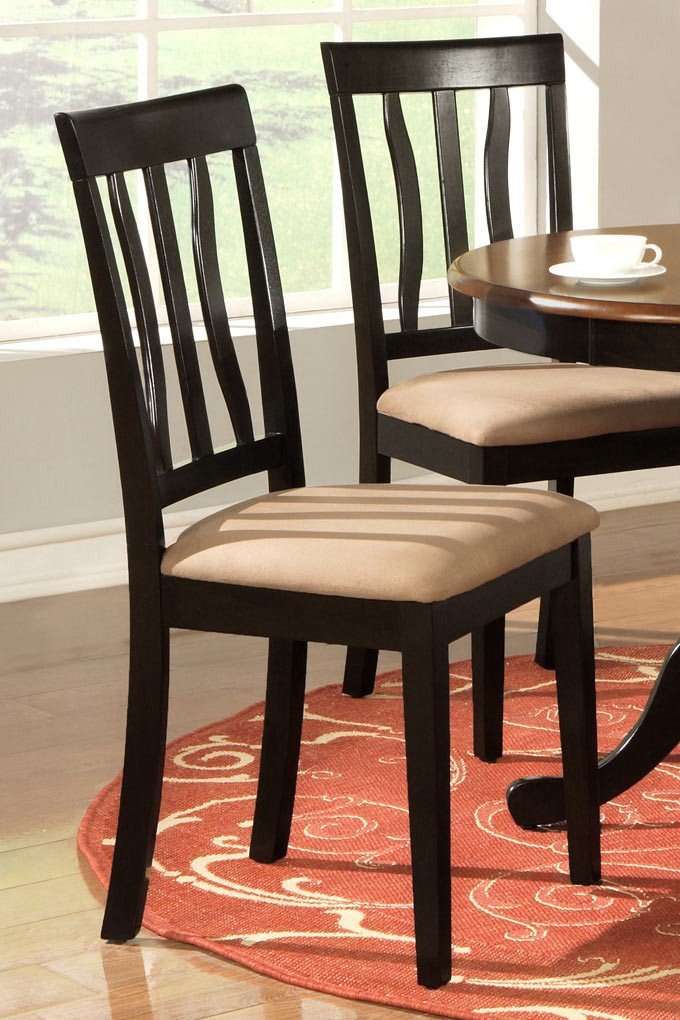 Set Of 4 Antique Dining Room Kitchen Solid Wood Chairs In Black Cherry Finish