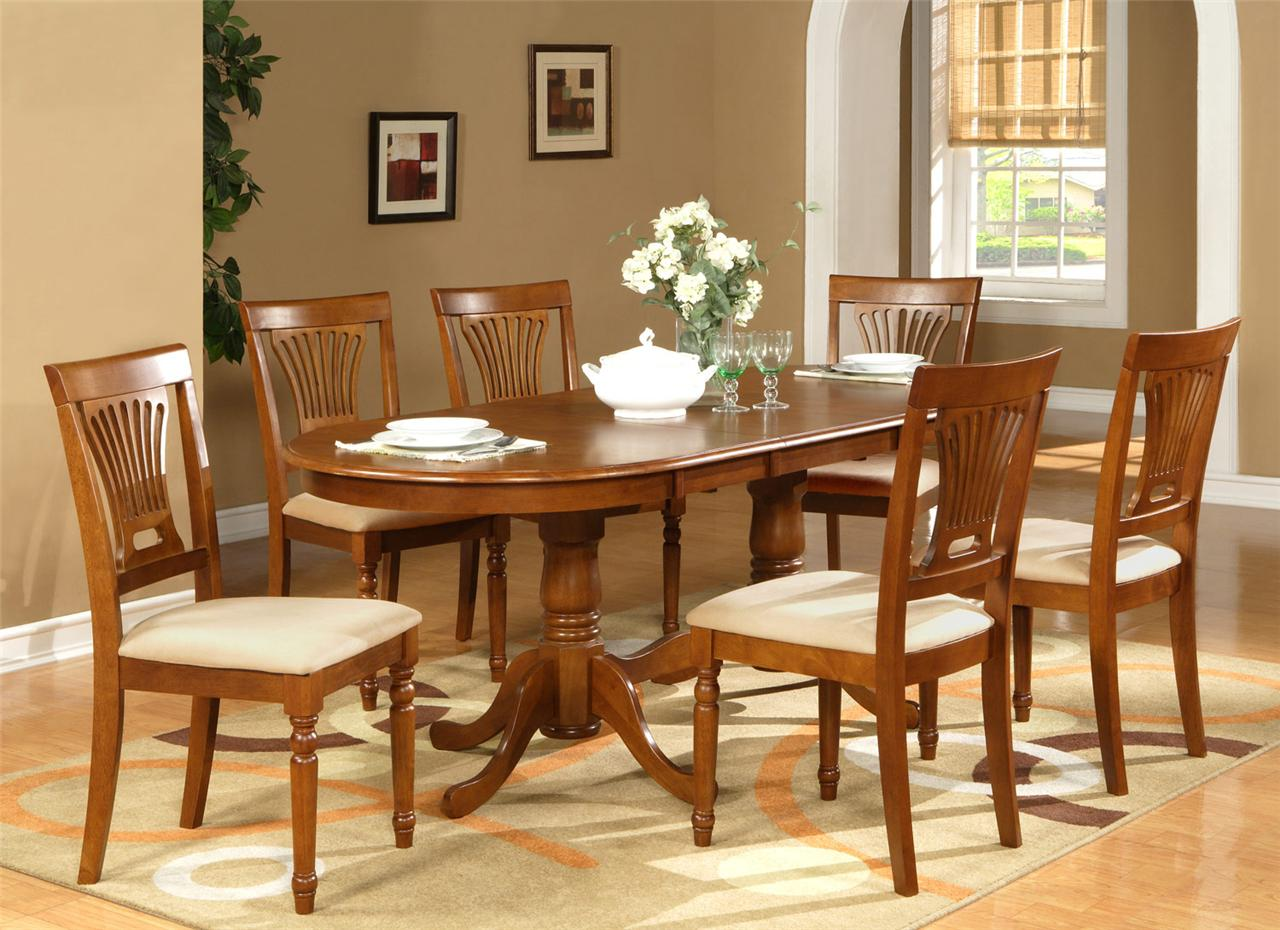 7pc Oval Dining Room Set Table 42 X78 With Leaf And 6 Chairs In Saddle Brown Ebay