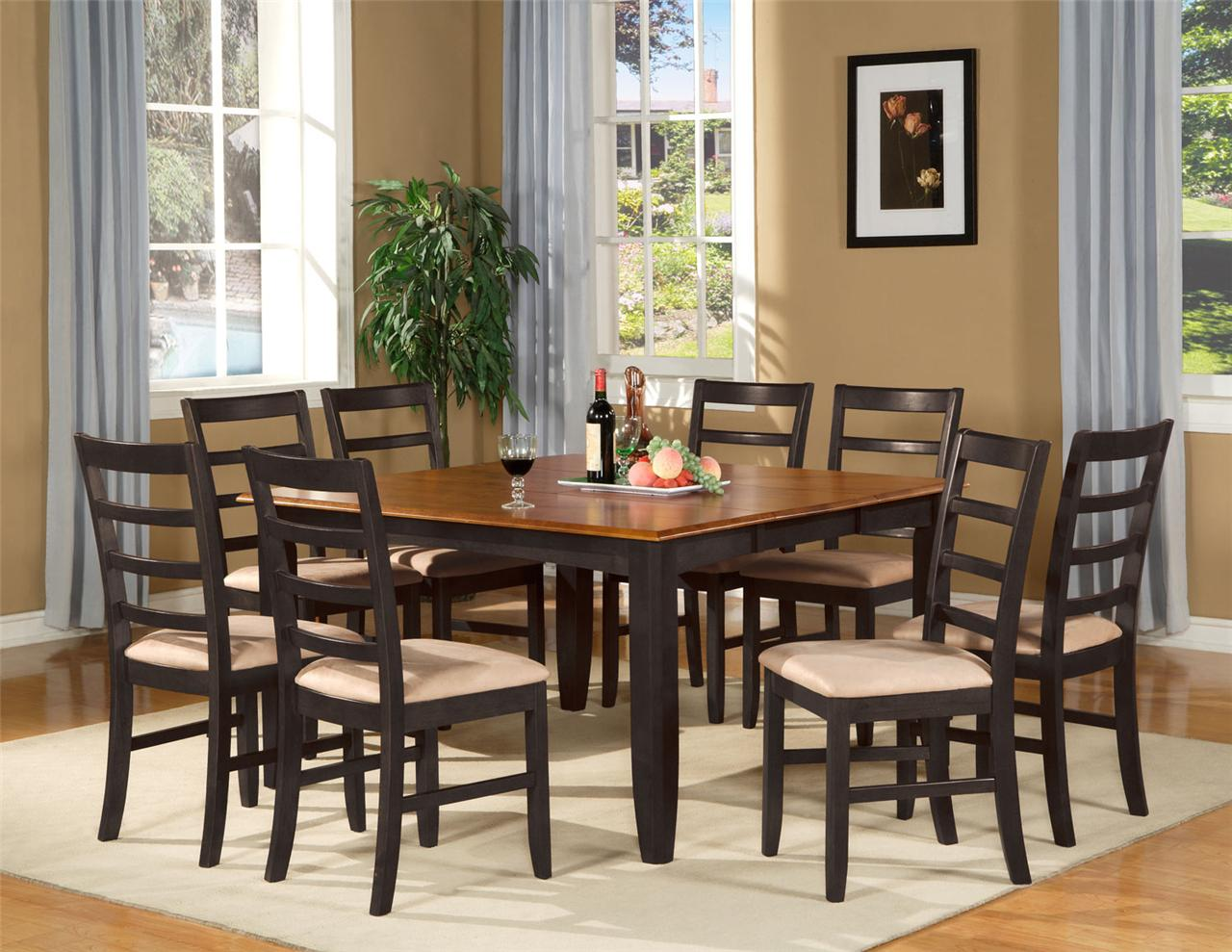 9 pc square dinette dining room table set and 8 chairs ebay for Dining room table and bench set