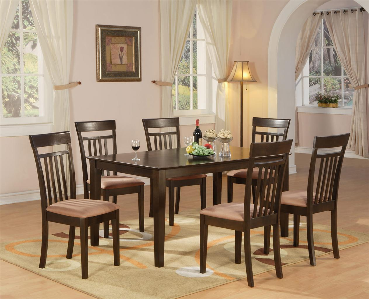7 pc dining room dinette kitchen set table and 6 chairs ebay for Dining set with bench and chairs