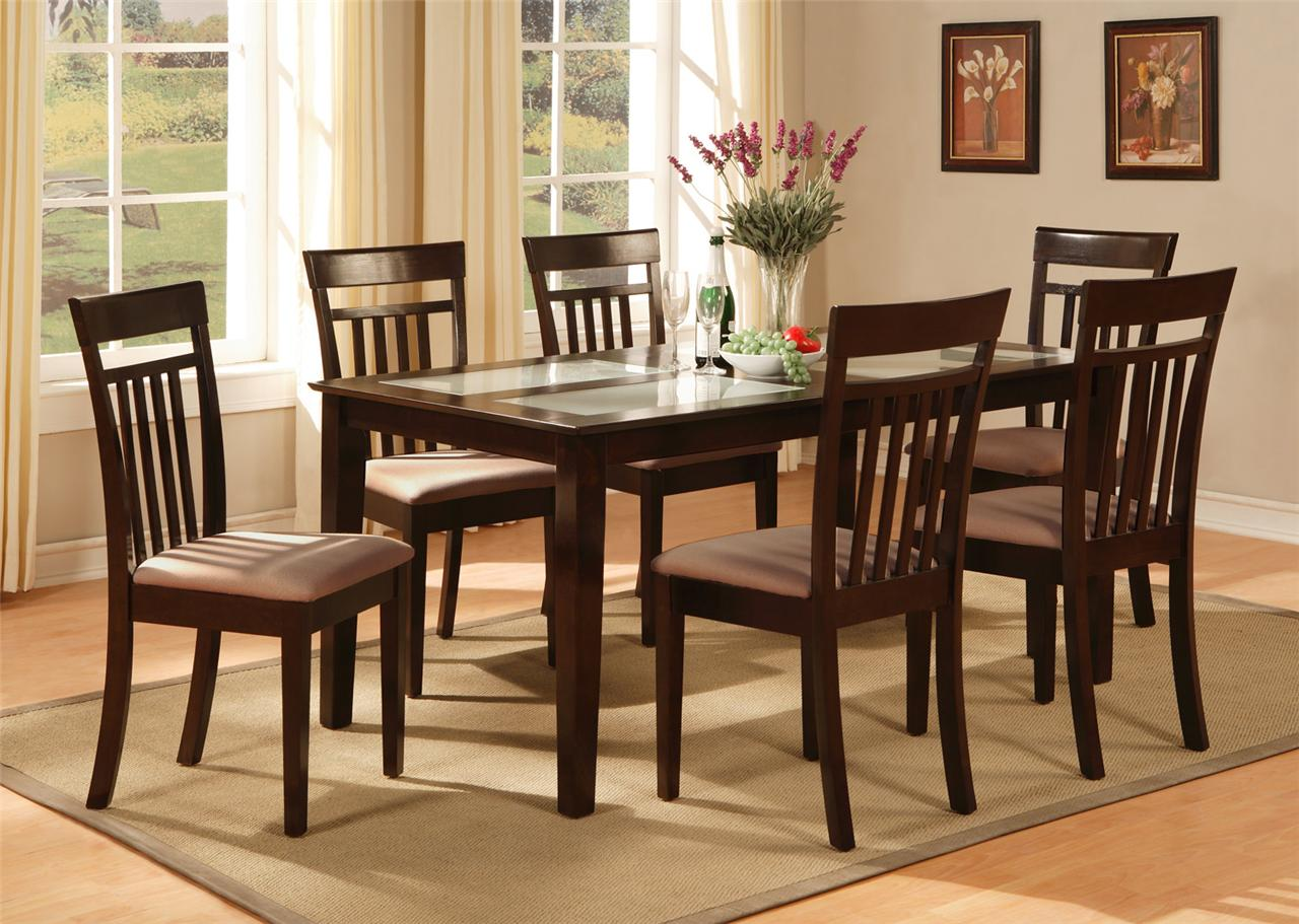 5pc rectangular dinette kitchen dining table w 4 padded chairs in cappuccino ebay - Rectangle kitchen table sets ...