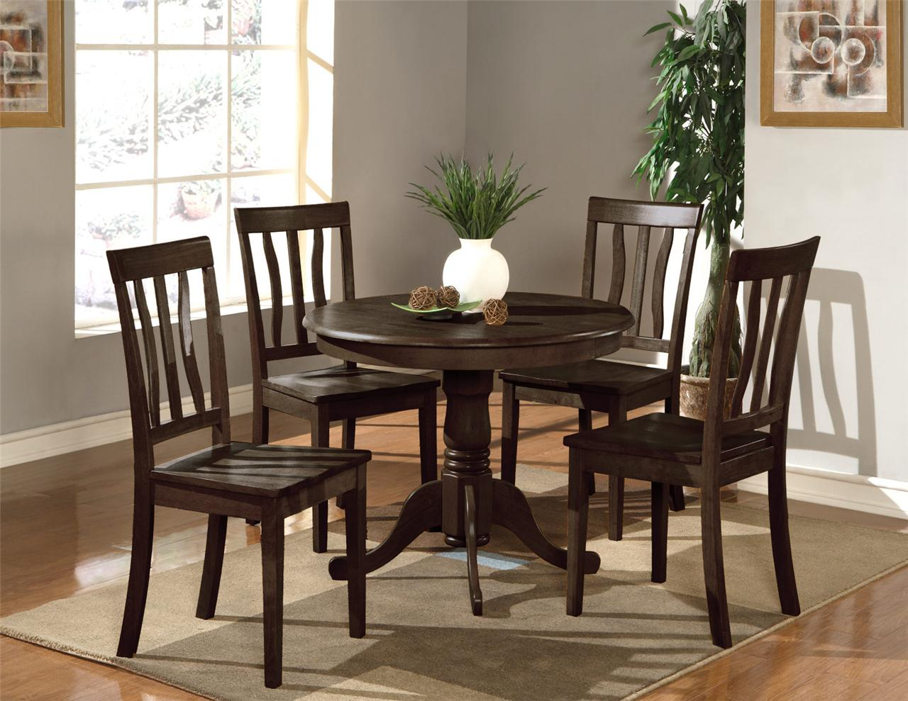 "5PC DINETTE KITCHEN SET 36"" ROUND TABLE WITH 4 WOOD SEAT"