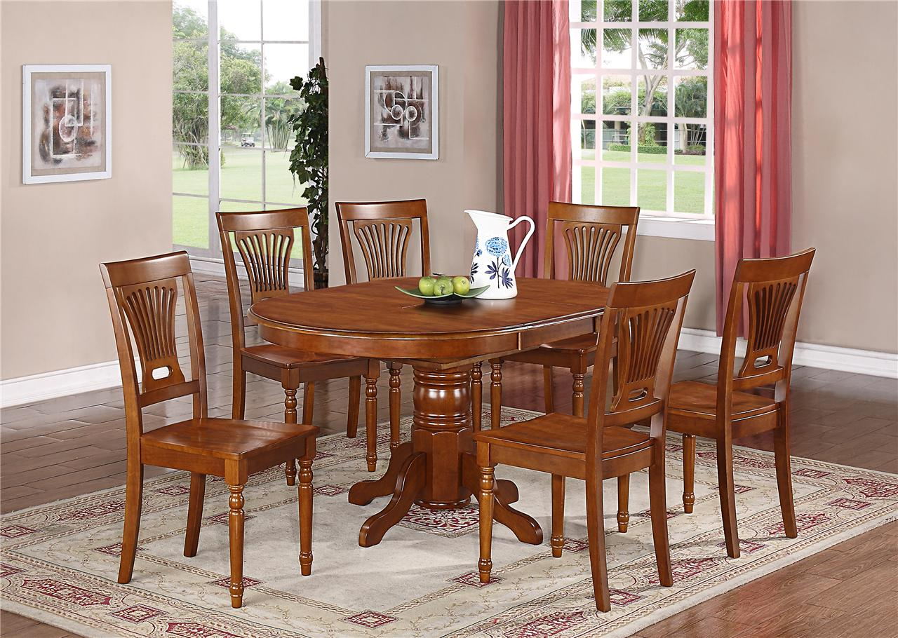 7 PC OVAL DINETTE KITCHEN DINING SET TABLE W 6 WOOD SEAT CHAIRS IN SADDLE BROWN