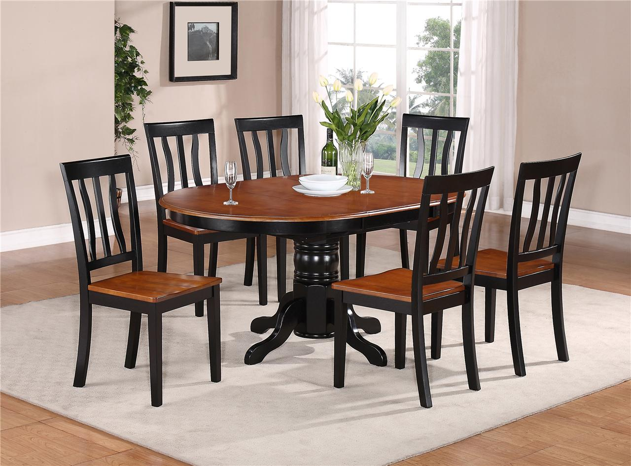 7 pc oval dinette kitchen dining set table w 6 wood seat for Black kitchen table set