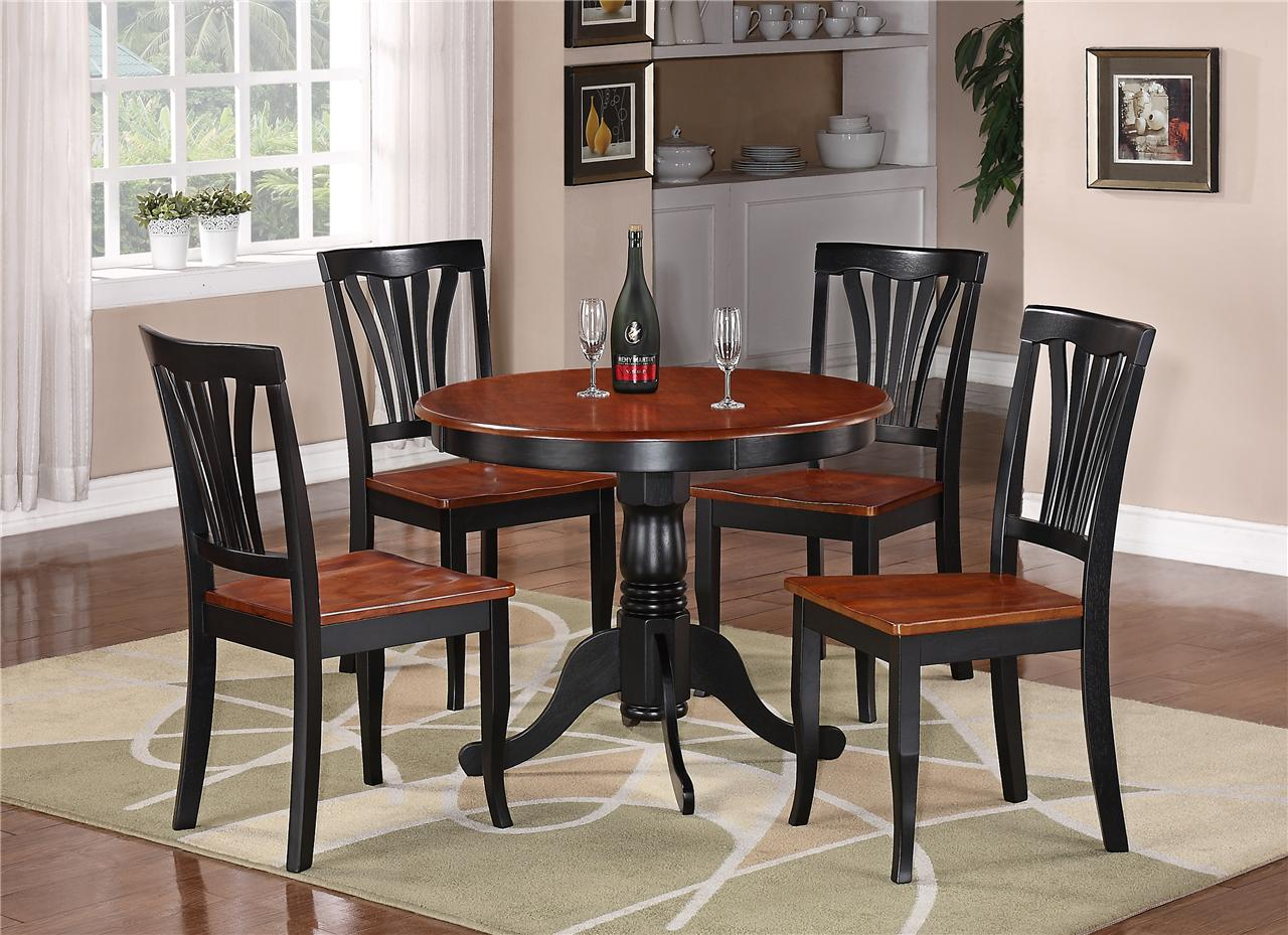 5PC ROUND TABLE DINETTE KITCHEN TABLE & 4 CHAIRS BLACK & SADDLE BROWN