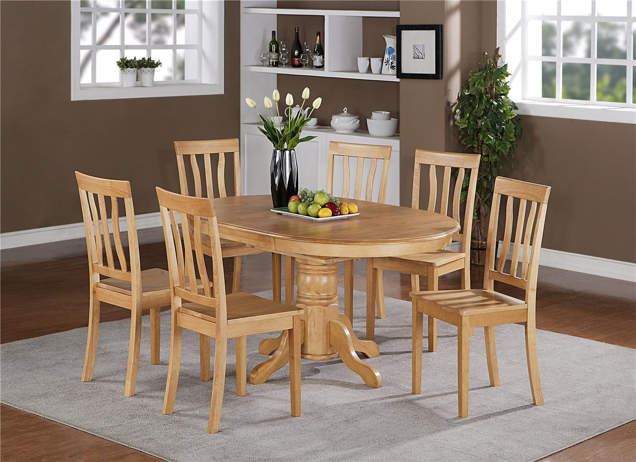7pc berlin oval kitchen dinette dining set table with 6 wood seat chairs in oak ebay - Bench kitchen set ...