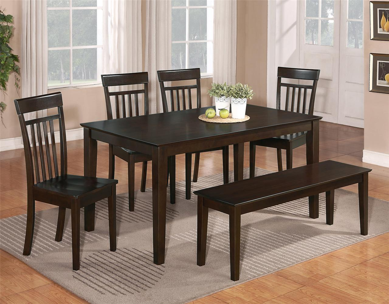 6 pc dinette kitchen dining room set table w 4 wood chair and 1 bench cappuccino ebay - Bench kitchen set ...
