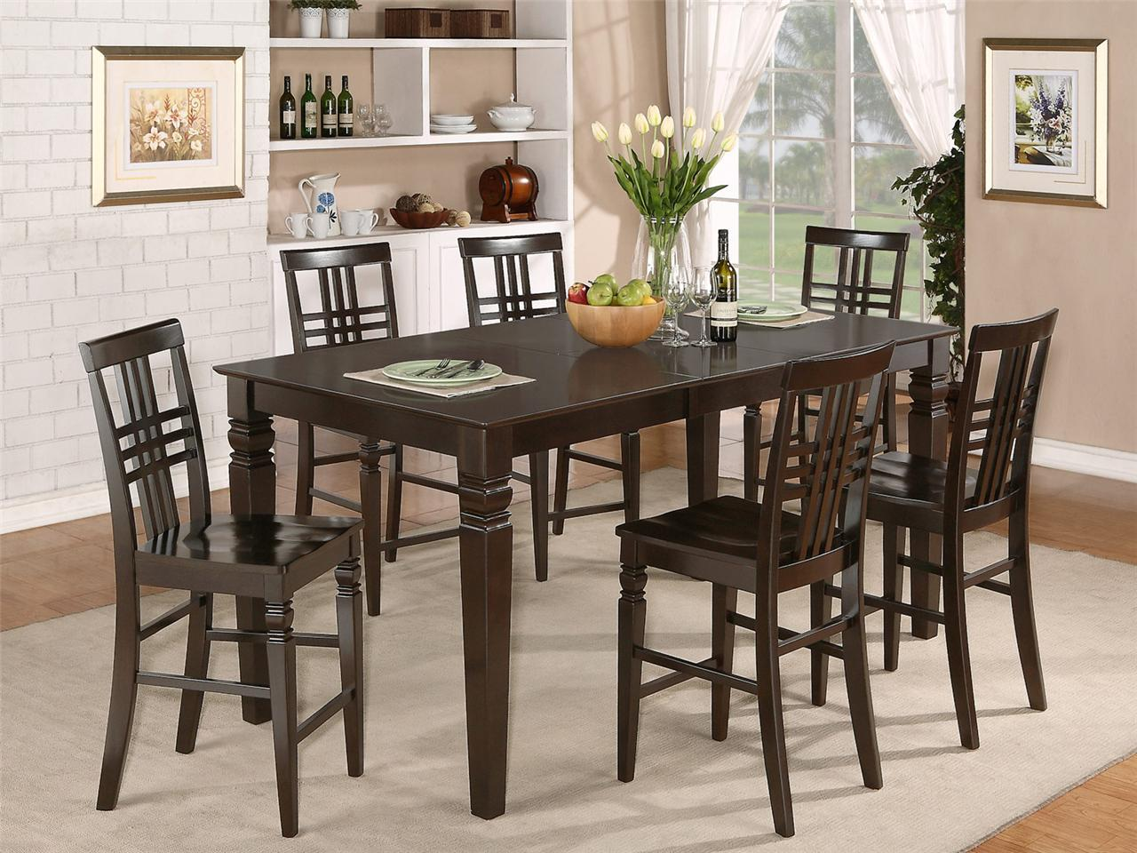 9pc counter height dining set table with 8 wood seat chairs in cappuccino ebay. Black Bedroom Furniture Sets. Home Design Ideas