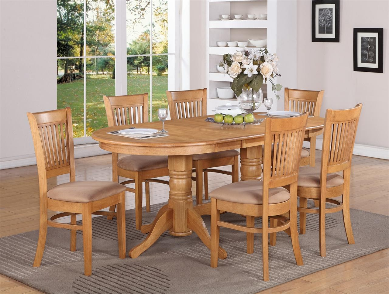 9 pc oval dinette dining room set table 8 upholstered for Dining room table and bench set