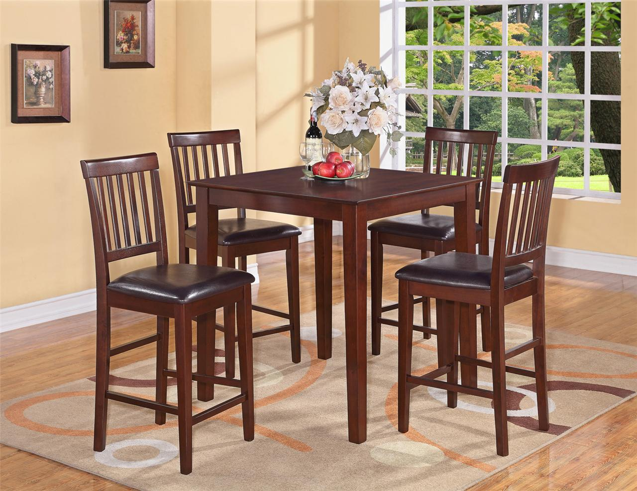 5pc vernon square counter height kitchen table with 4 leather chairs