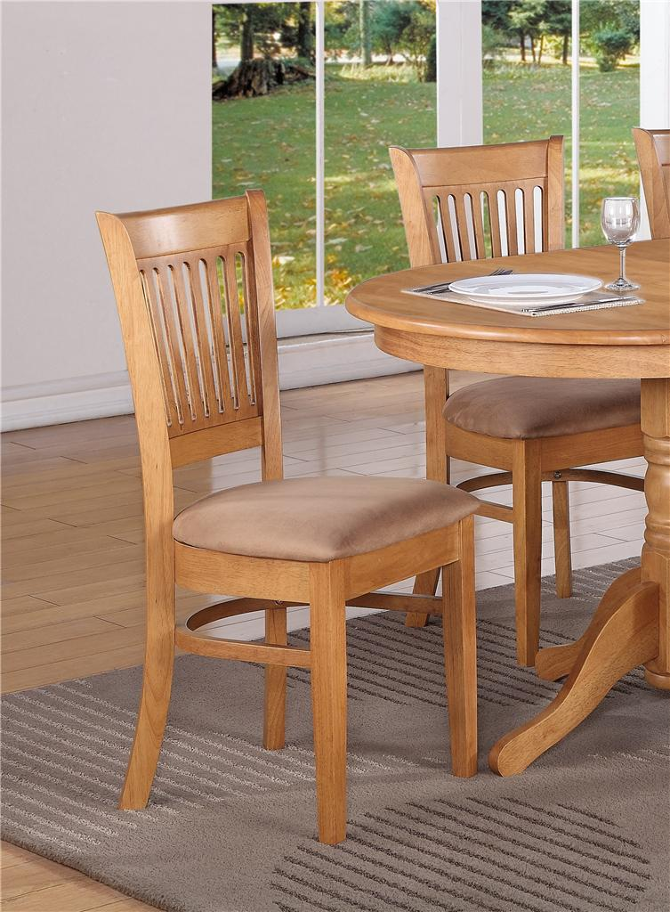 Set Of 4 Kitchen Dining Chairs With Microfiber Cushion Seat In Oak Finished