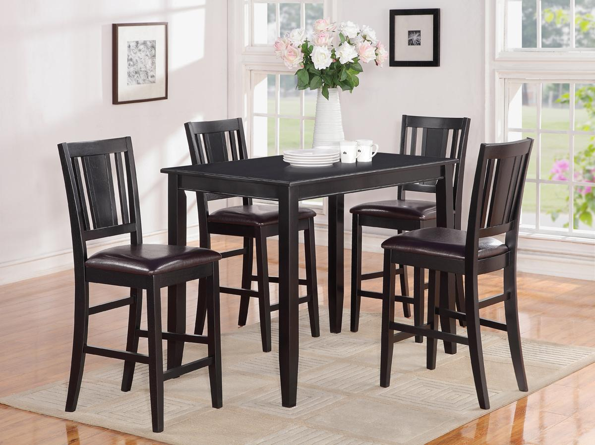5pc rectangular counter height table 30x48 with 4 leather seat chair in black ebay. Black Bedroom Furniture Sets. Home Design Ideas