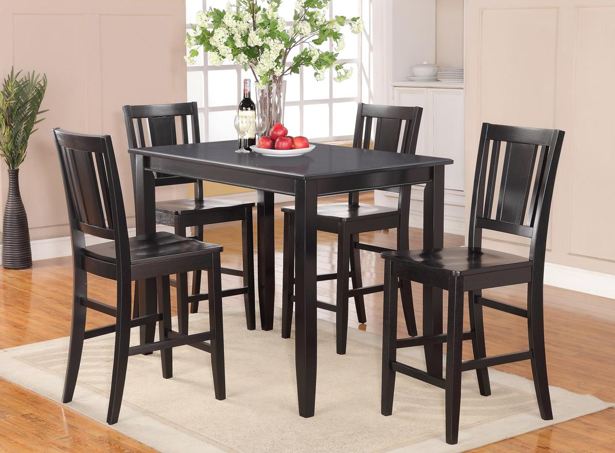 5pc rectangular counter height set 30 x48 table and 4 wood seat chairs - Rectangle kitchen table sets ...