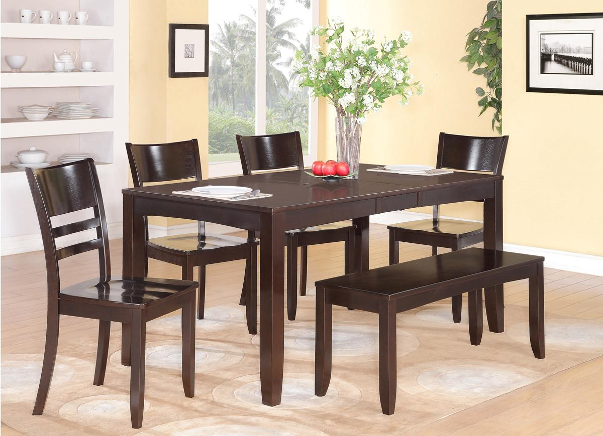 DINETTE KITCHEN DINING TABLE WITH 4 WOOD SEAT CHAIRS AND 1 BENCH