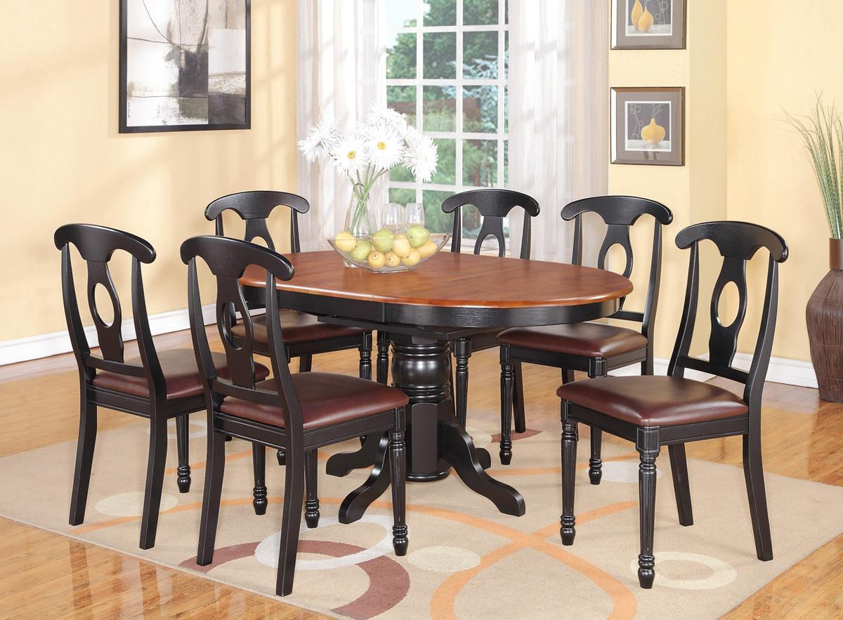 5 pc oval dinette kitchen dining set table w 4 leather for Black kitchen table set