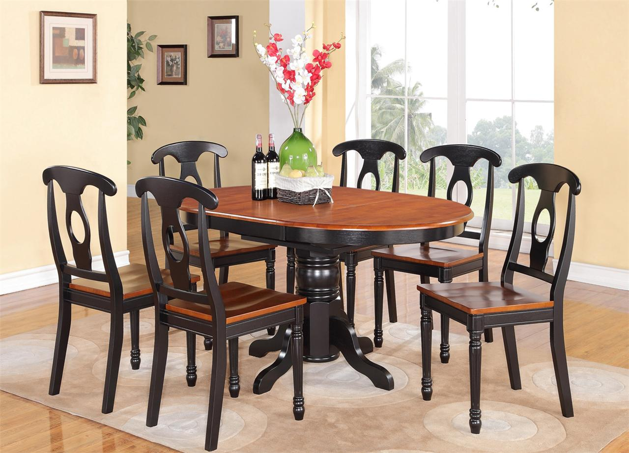5 pc oval dinette kitchen dining set table w 4 wood seat for Black kitchen table set