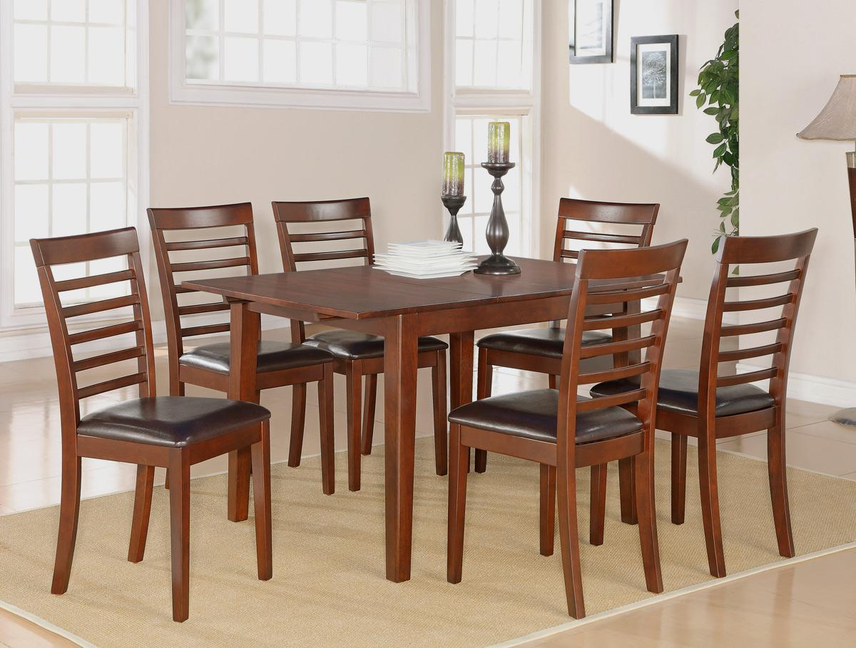7pc Rectangular Dinette Kitchen Dining Table W 6 Leather