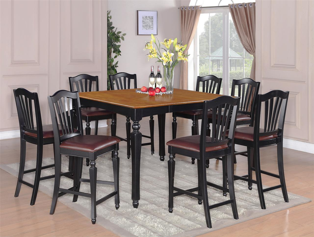 5pc square counter height dining room table w 4 chairs 24 stool black
