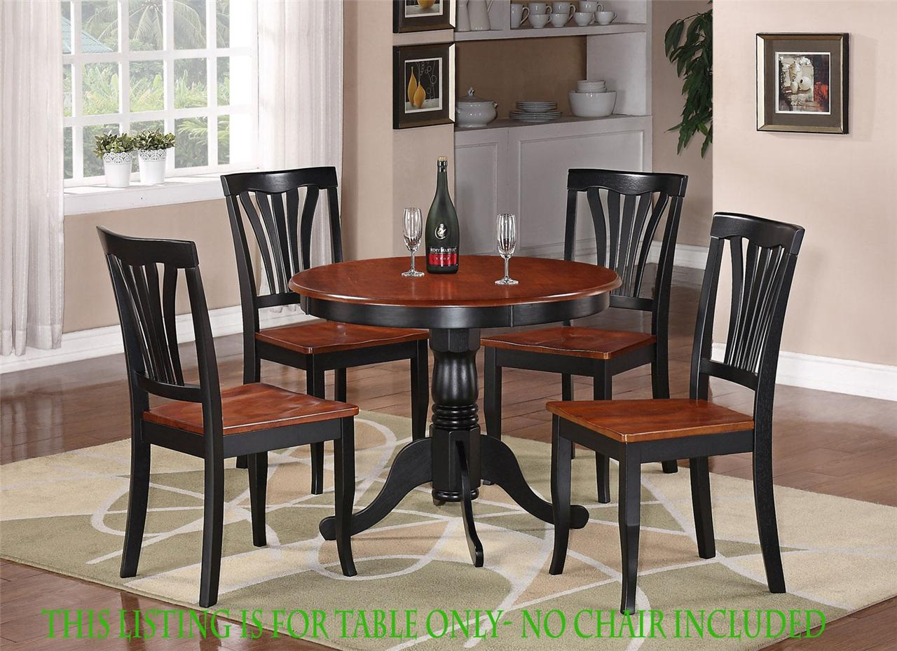 Round Table Dinette Kitchen Table in Black Saddle Brown No Chair ...