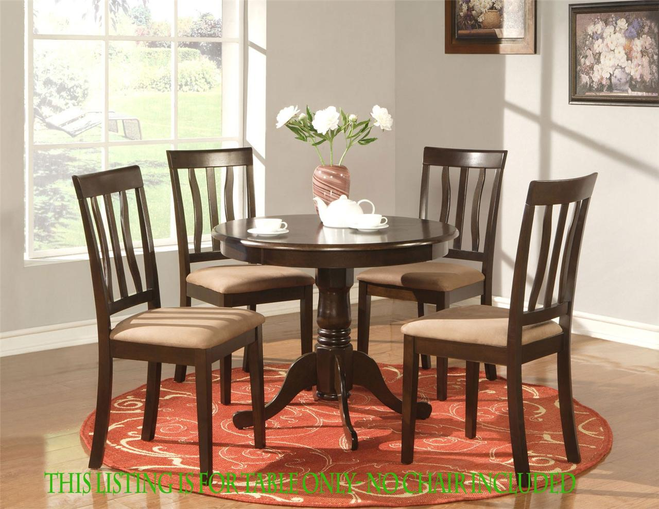 Round Table Dinette Kitchen Table In Cappuccino Finish 36