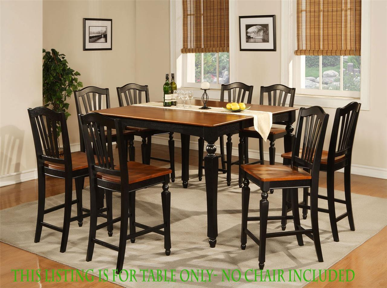 Square dining dinette kitchen counter height table black for Dining table without chairs