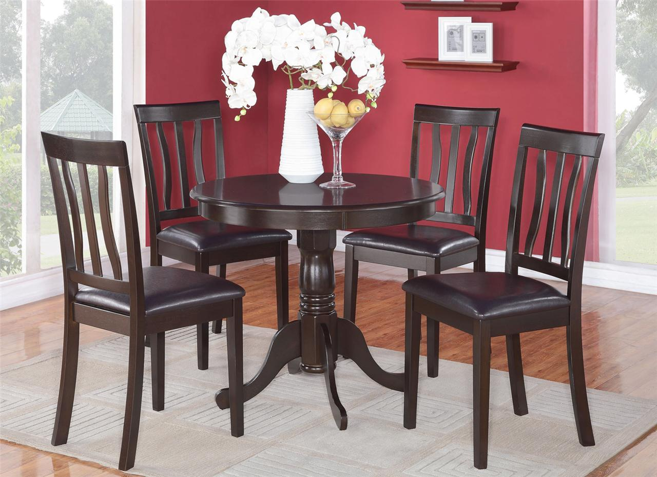 5pc dinette kitchen set 36 round table with 4 leather for Leather kitchen table chairs