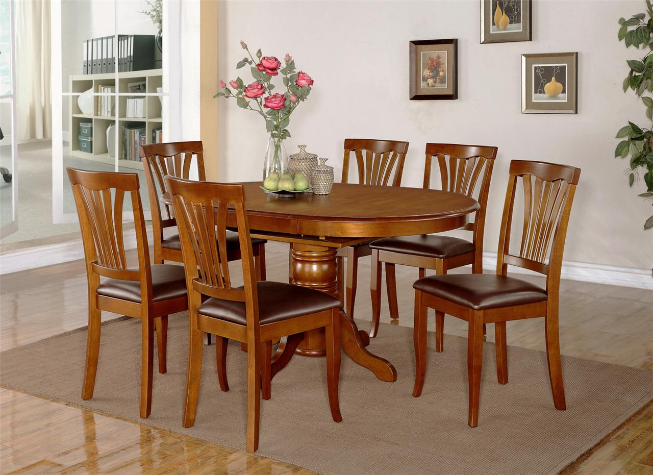 7PC DINING ROOM SET OVAL TABLE AND 6 FAUX LEATHER UPHOLSTERED SEAT CHAIRS EBay