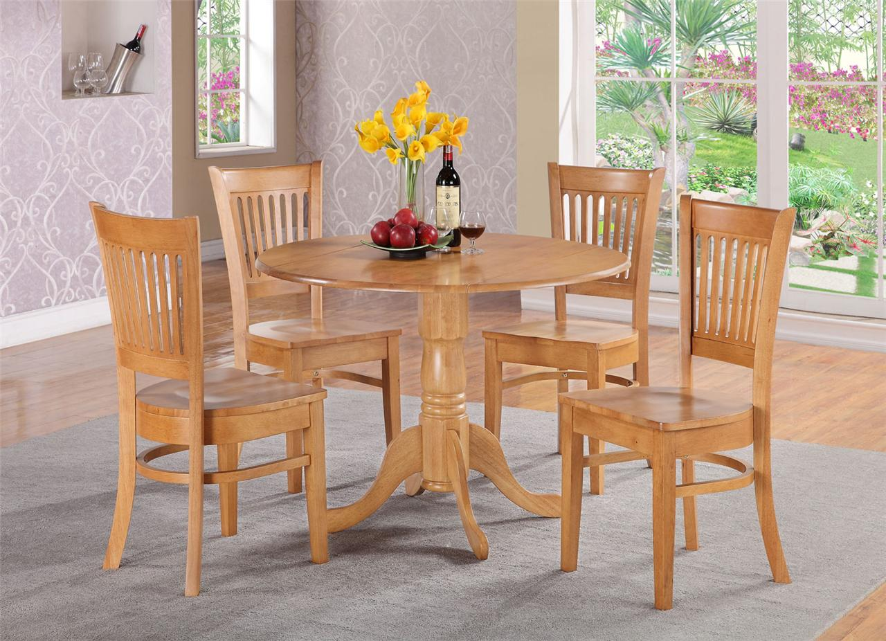 3pc Round Dinette Kitchen Dining Set Table W 2 Wood Seat Chair Oak Ebay