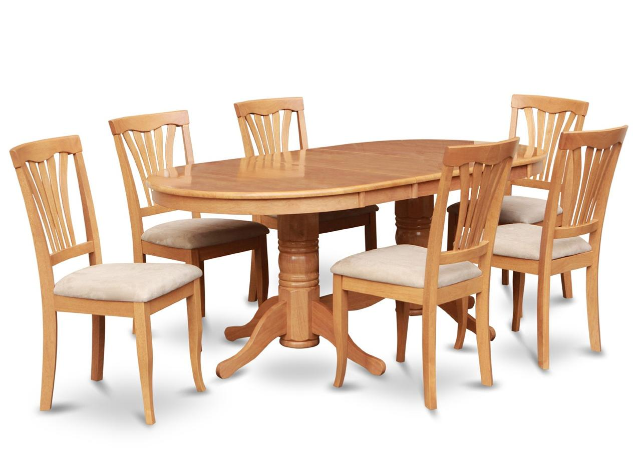 7pc oval dinette kitchen dining room set table with 6 for Oak dining room chairs